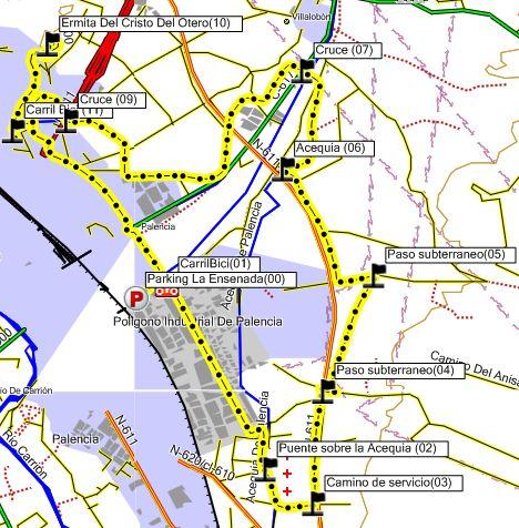 Mapa de la ruta al Cristo del Otero por la Acequia de Palencia