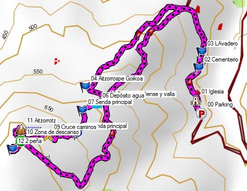 Mapa de la ascensión al Aitzorrotz desde Bolibar